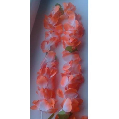 Didelių gelių su lapeliais havajų karoliai (pasirenkama spalva)