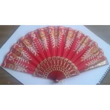 Puošni vėduoklė su aukso raštais (raudona)-pasirinkite stilių